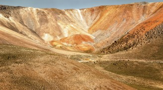 Crater of multicolored volcano, near the town of Cariquima and Colchane, in the Tarapaca region, northern Chile